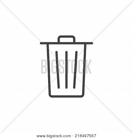 Trash can line icon, outline vector sign, linear style pictogram isolated on white. Delete bin garbage symbol, logo illustration. Editable stroke