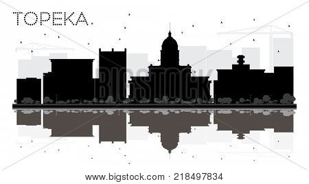 Topeka Kansas USA City skyline black and white silhouette with Reflections. Business travel concept. Topeka Cityscape with landmarks.