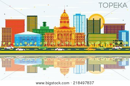 Topeka Kansas USA Skyline with Color Buildings, Blue Sky and Reflections. Business Travel and Tourism Concept with Modern Architecture.