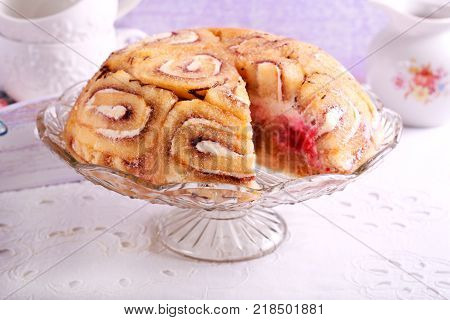 Royal charlotte cake - swirl roll cake with cream and berry filling