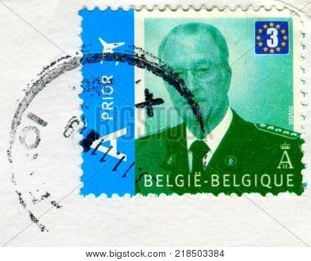 GOMEL, BELARUS, 14 DECEMBER 2017, Stamp printed in Belgium shows image of the Albert II (born 6 June 1934) reigned as the sixth King of the Belgians, circa 2017.