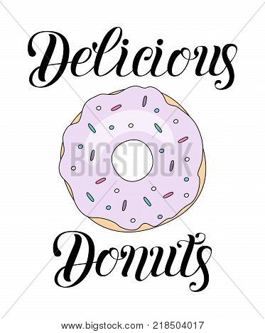 Delicious Donut vector illustration isolated on background. Donut icon in a flat style. Perfect for logo background card poster. Template for design.