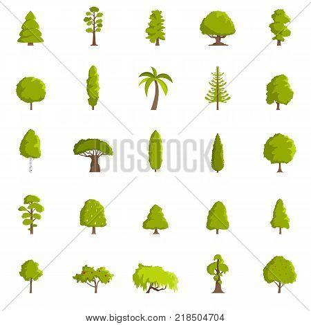 Tree icons set. Flat illustration of 25 tree vector icons isolated on white background