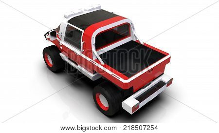 Special all-terrain vehicle for difficult terrain and difficult road and weather conditions. 3d rendering