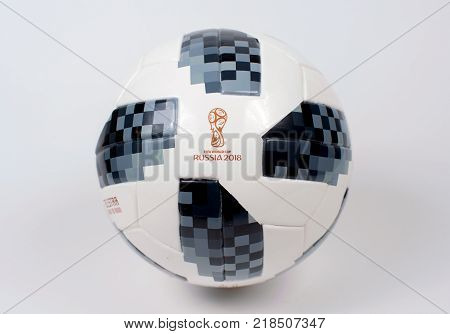 2 Dec 2017 Moscow Russia The official ball of FIFA World Cup 2018 Adidas Telstar 18.