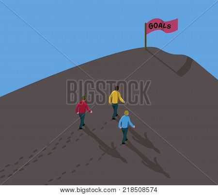Goal Reach Concept Achieve The Target- Three Men Walking In Dirt Up To Hill With Red Flag Sign Text