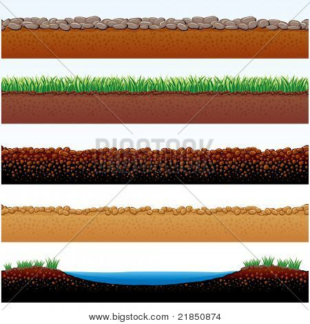 Vector Illustration of Ground parts cutaway: field of grass, stones roadway, desert sands, cobblestone road