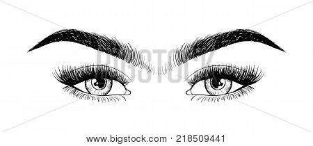 Unibrow shaping eyebrows and beauty eyes. Waxing hair on the face. Mono Eyebrow before correction. The concept and hair removal