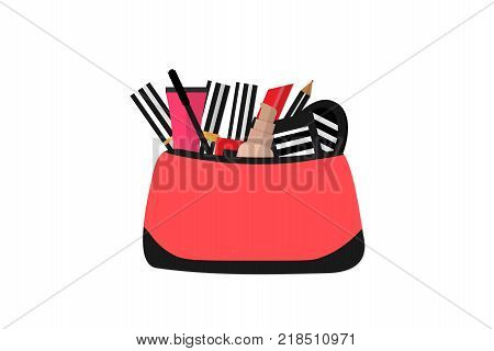 Make up concept vector flat illustration. Include cosmetic bag with lipstick, comb, brush, palette, nail polish. Vector flat design of make up procedure. Make up artist objects. Isolated on white.