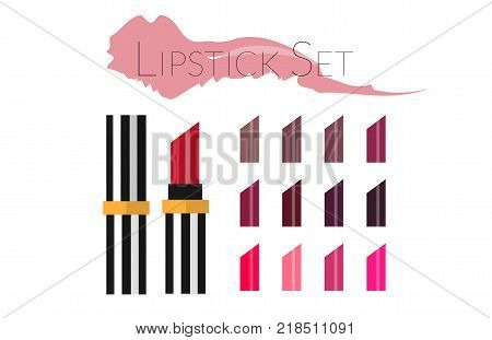 Lipstick set isolated on white background. Big set of lipsticks in different color. Flat vector illustration. Template for ads or banner in beauty magazine. Make up artist objects. With palette.