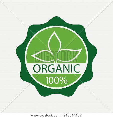 Organic label. Nature, quality, verified. Vector illustration.