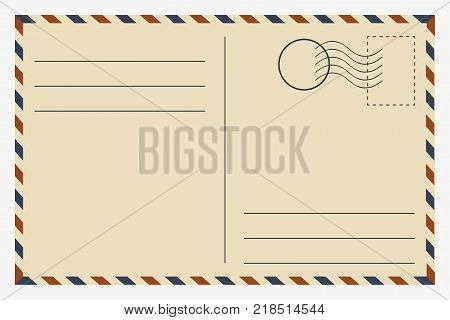 Postcard. Vintage template. Retro postage card. Vector illustration.
