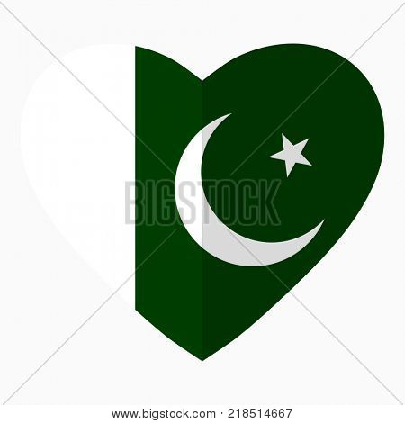 Flag of Pakistani in the shape of Heart, flat style, symbol of love for his country, patriotism, icon for Independence Day.