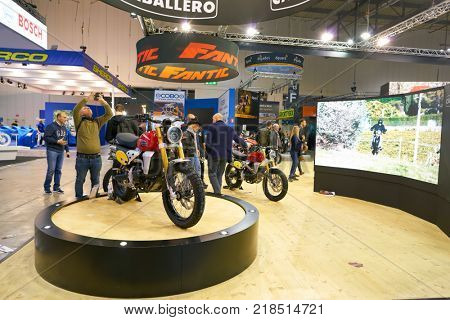 MILAN, ITALY - NOVEMBER 11, 2017: Caballero motorcycles on display at EICMA 2017 - 75th International Motorcycle Exhibition