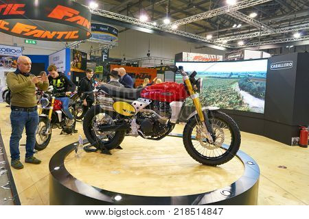 MILAN, ITALY - NOVEMBER 11, 2017: Caballero motorcycle on display at EICMA 2017 - 75th International Motorcycle Exhibition