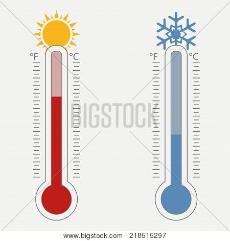 Meteorological thermometer. Temperature scale for Celsius and Fahrenheit. The warm and cold weather is shown by the sun and the snowflake. Vector illustration.