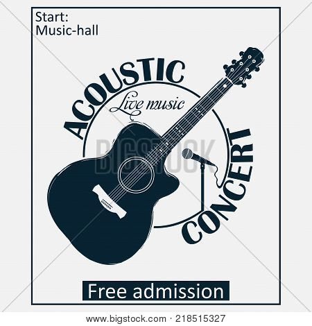 Acoustic musical concert poster with guitar and microphone. Vector illustration.