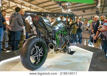 MILAN, ITALY - NOVEMBER 11, 2017: Kawasaki Ninja H2R motorcycle is displayed at EICMA 2017 - 75th International Motorcycle Exhibition