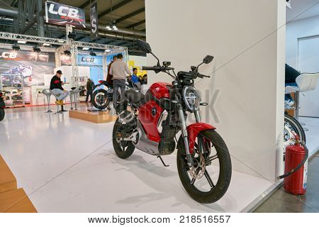 MILAN, ITALY - NOVEMBER 11, 2017: Super Soco motorcycle is displayed at EICMA 2017 - 75th International Motorcycle Exhibition