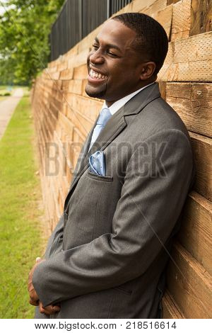 Portrait Of A Handsome African American Groom Smiling
