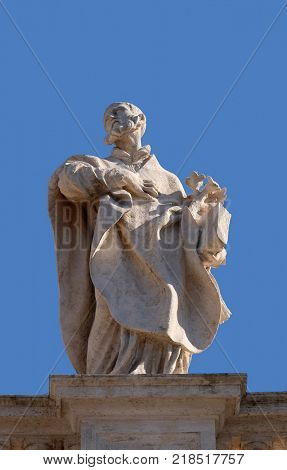 ROME, ITALY - SEPTEMBER 02: St. Philip Neri, fragment of colonnade of St. Peters Basilica. Papal Basilica of St. Peter in Vatican, Rome, Italy on September 02, 2016.