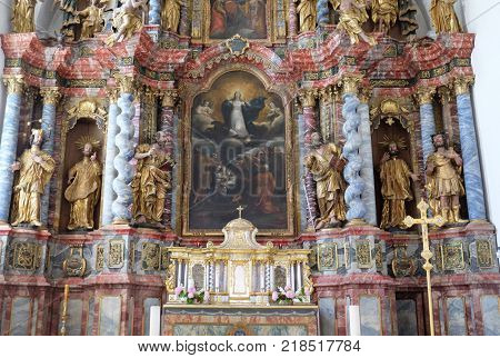 VARAZDIN, CROATIA - JULY 09: Assumption of the Virgin Mary, altar in cathedral of Assumption in Varazdin, Croatia on July 09, 2016.