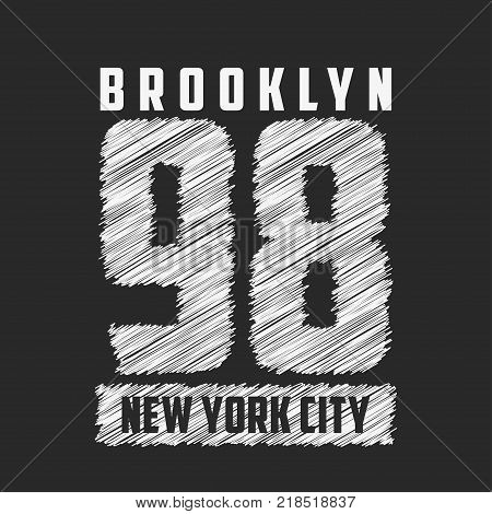 Brooklyn, New York City typography for design clothes, t-shirts, print, stamp. Number sport apparel graphics with hatched numeral. Vector illustration.