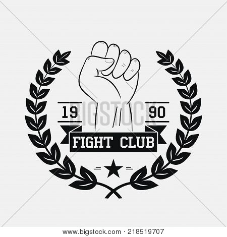 Fight Club logo. Fighting typography for design clothes, t-shirts, apparel. Sport print with fist, wreath, star and ribbon. Vector illustration.