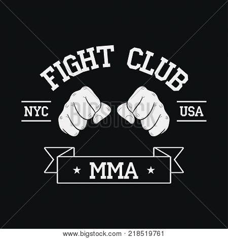 Fight Club logo. NYC, USA. MMA, Mixed Martial Arts. Fighting typography for design clothes, t-shirts, apparel. Sport print with two fist and ribbon. Vector illustration.