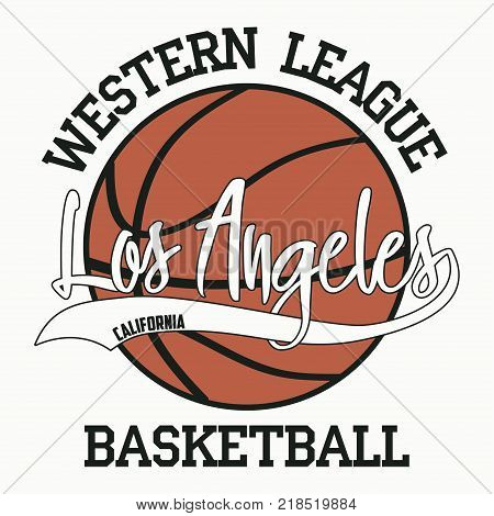 Basketball, Los Angeles, California. Sport typography for design clothes, t-shirts, apparel, print. Vector illustration.
