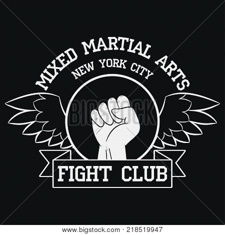 Fight Club logo. New York, MMA, Mixed Martial Arts. Fighting typography for design clothes, t-shirts, apparel. Sport print with fist, ribbon and wings. Vector illustration.