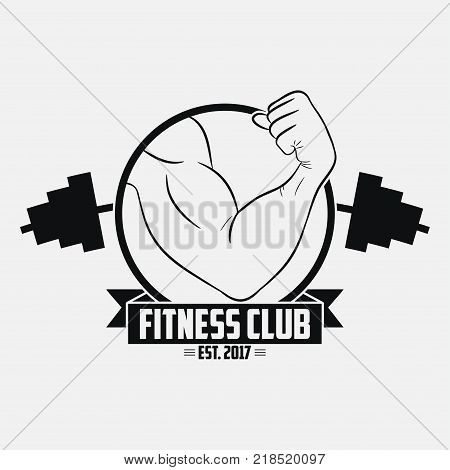 Fitness club. GYM logo with muscular hand and barbell . Typography graphic for t-shirt, design of sport apparel, clothes. Bodybuilding label. Vector illustration.