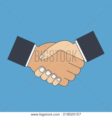 Handshake flat icon. Shake hands. Greeting, partnership, gesture of respect, understanding. Vector illustration.