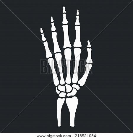 Skeleton hand with bones icon. Vector illustration.