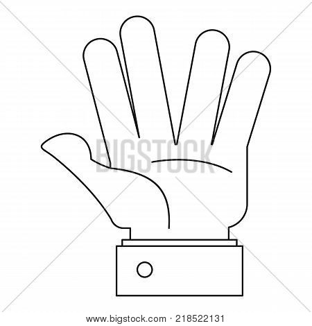 Opened palm icon. Outline illustration of opened palm vector icon for web