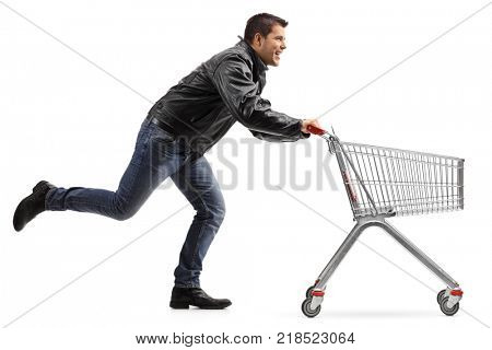 Biker running and pushing an empty shopping cart isolated on white background