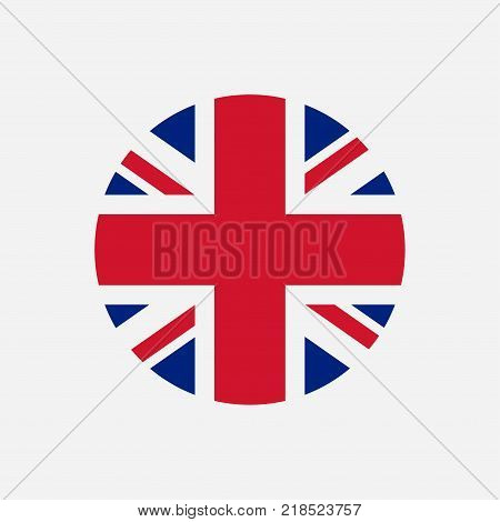 Great Britain flag. Union Jack round logo. Circle icon of United Kingdom flag. Vector illustration.