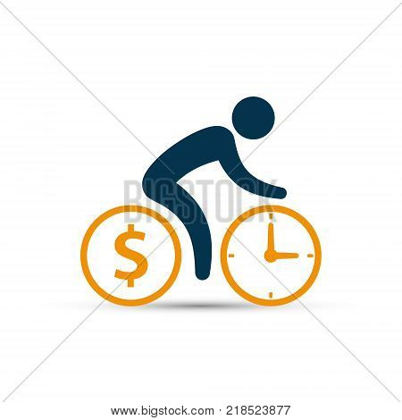 Business concept cyclist icon vector. Time is money concept. Bicycle wheels as a coin and clock. Simple isolated bicycle sign.