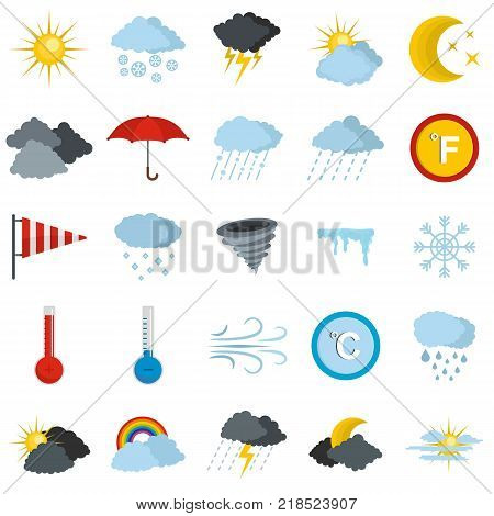 Weather icons set. Flat illustration of 25 weather vector icons isolated on white background