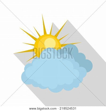 Blue cloudy sun icon. Flat illustration of blue cloudy sun vector icon for web