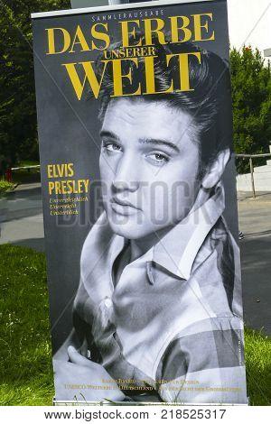 BAD NAUHEIM GERMANY AUGUST 2017: Flags on 16 th European Elvis Festival in memory of Elvis Presley.