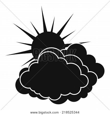 Blue cloudy sun icon. Simple illustration of blue cloudy sun vector icon for web