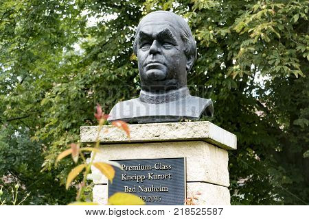 BAD NAUHEIM Germany AUGUST 2017: Bust monument to Sebastian Kneipp spa resort Bad Nauheim Hessen Germany