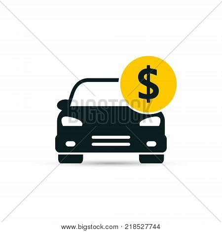 Car with coin icon vector. Buying car button in flat style. Save money for buying transport.