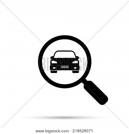 Search car sign vector. Magnifying glass with car. Search car symbol. Looking for a vehicle.