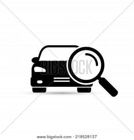 Search car sign vector. Magnifying glass with car. Search car symbol. Looking for car.