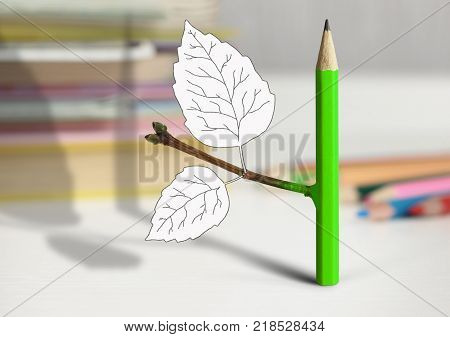 creative idea concept pencil with leaves on table