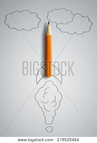 start up concept pencil as drawn rocket