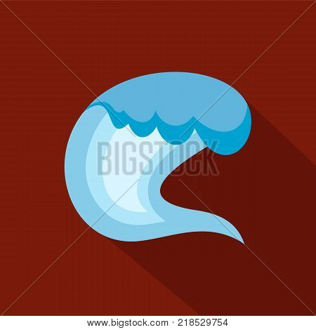 Wave surfing icon. Flat illustration of wave surfing vector icon for web