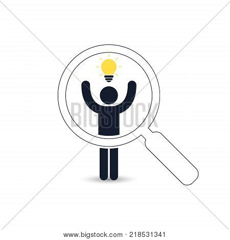 Search for talent with idea. Looking for employees and job business human resource. Looking for talent. Search man vector icon. Job search.